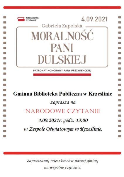 """Plakat Narodowego Czytania 2021 Gabriela Zapolska """"Moralność pani Dulskiej"""""""